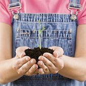 Young girl holding seedling and soil