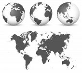 Gray 3d Globe - Earth Vector Set With Undistorted 2d World Map In Gray Color. Usefull As Eyecatcher  poster