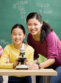 Estudiantes y profesores con microscopio en el aula de la ciencia