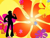 stock photo of hippy  - an illustration with colourful flowers and a couple of silhouette hippie girls dancing - JPG