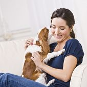 An attractive young woman sitting on a couch and being kissed by a dog that she is holding.  She is