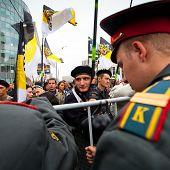 Moskau - 15.09: oppositionelle Aktivisten und Unterstützer beteiligen an ein Anti-Putin-Protestkundgebung