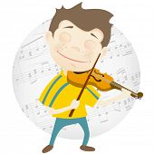 Cartoon Character Cute Teenager Isolated on White Background. Violinist. Vector EPS 10.