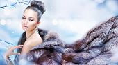 stock photo of coat  - Winter Girl in Luxury Fur Coat - JPG