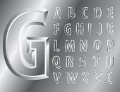 Vektor Metal Relief alphabet