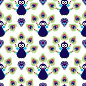 Seamless retro india exotic peacock kids background pattern in vector
