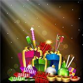 Tarjeta de felicitación para la fiesta de Diwali en la India con cajas de regalo y petardos. EPS 10.