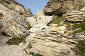 limestone rocks landscape in Bonifacio coastline, Corsica island, France
