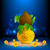 stock photo of kalash  - illustration of coconut in mangal kalash on colorful rangoli for hindu festival - JPG