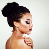 stock photo of mulatto  - young mulatto fresh fashion woman with beautiful makeup - JPG
