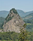 Beacon Rock In Columbia River Gorge