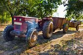 Old Tractor With Trailers