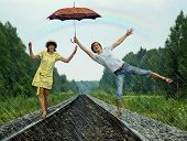 Couple Under Rain