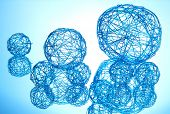 beautiful decorative balls, on blue background