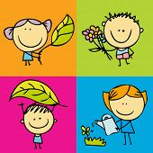 Happy kids and garden icon set