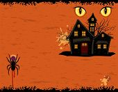 Grungy Halloween Party Card With Ghosts Mansion
