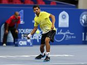 KUALA LUMPUR - SEP 22: Sanam Singh of India plays in the qualifying match of the ATP Tour Malaysian Open 2012 on September 22, 2012 at the Putra Stadium, Kuala Lumpur, Malaysia. S. Singh defeat YM Si.