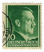 GERMANY - CIRCA 1943: A stamp printed in Germany shows image of Adolf Hitler was an Austrian-born German politician and the leader of the Nazi Party, in green, circa 1943.