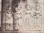 picture of concubine  - Details of Apsara carving on the wall of Angkor Wat Cambodia - JPG