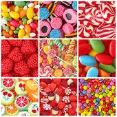 foto of licorice  - Collage of photos with different colorful sweets - JPG