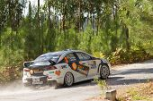 Pombal, Portugal - September 22: Pedro Meireles Drives A Mitsubishi Lancer Evo X During Rally Centro