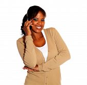 Charming Ethnic Young Woman Talking On Cellphone