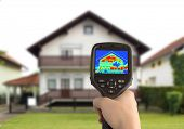 stock photo of thermal  - Heat Loss Detection of the House With Infrared Thermal Camera - JPG