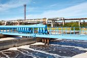 stock photo of aerator  - Aeration of wastewater in sewage treatment plant - JPG