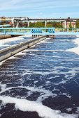 foto of groundwater  - Water treatment tank with waste water in factory - JPG