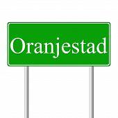 Sinal de estrada verde de Oranjestad