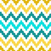 Colorful zigzag geometric seamless pattern in blue and yellow, vector