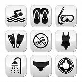 Swimming, scuba diving, sport vector buttons set