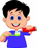 Cartoon kid squeezing tooth paste on a toothbrush