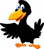 foto of raven  - Vector illustration of Cute raven cartoon waving - JPG