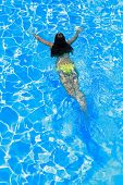 Young woman swimming in the swimming pool