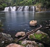 Waterfalls in the middle of jungle in New Zealand