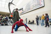 LONDON, UK - May 26: Spiderman and Doctor Octopus cosplayers posing at the MCMExpo at the Excel Cent