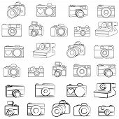 Hand Drawn Set of Vector Cameras
