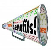 The word Benefits on a bullhorn or megaphone to illustrate features and beneficial qualities of a jo