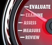 A performance review or evaluation measured on a speedometer or gauge to assess or review your actio