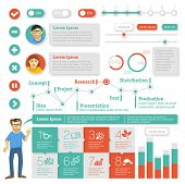 Vlakke interface ontwerp-element ingesteld. Vector infographic sjabloon.