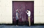 Retro Young Love Couple Vintage Film Video Videographer