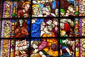 Nativity Mary Joseph Baby Jesus Stained Glass Cathedral Of Saint Mary Of The See Seville Spain