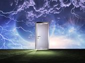stock photo of cosmic  - Doorway before cosmic sky - JPG