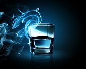 foto of fumes  - Image of glass of blue cocktail with fume going out - JPG