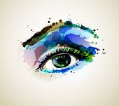 foto of eyebrow  - Beautiful fashion woman eye forming by blots - JPG