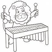 Cartoon Lion Playing A Vibraphone