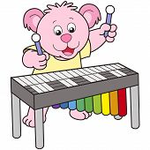 Cartoon Bear Playing A Vibraphone