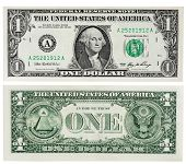 stock photo of two dollar bill  - Two sides of an one dollar bill isolated on white - JPG