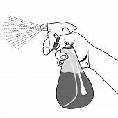 Hand Holding Spray Bottle  Outline Vector.eps